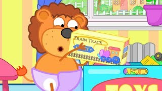 Lion Family Grandfather Gathers Train Cartoon for Kids