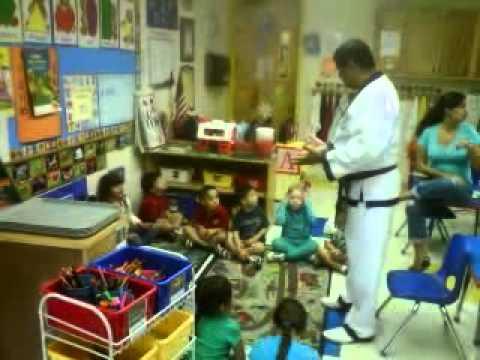 Master Rod talks about Self Defense to Riverside Preschool children