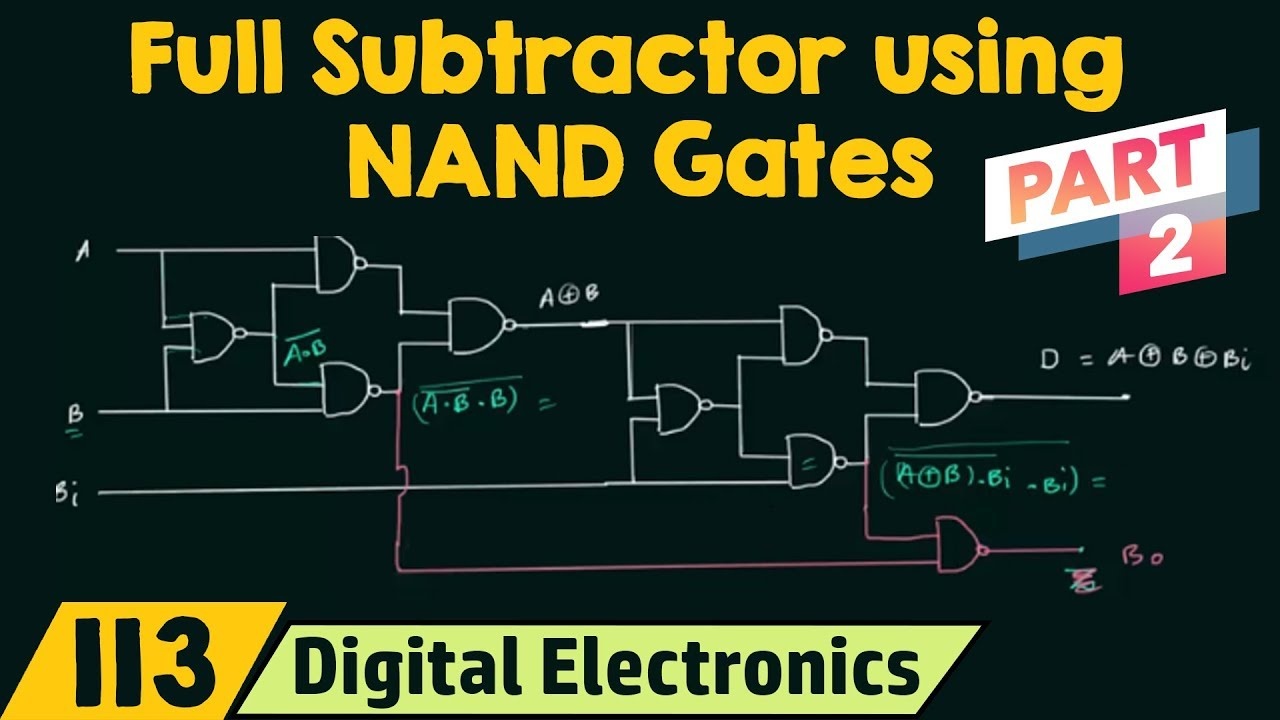 hight resolution of realizing full subtractor using nand gates only part 2