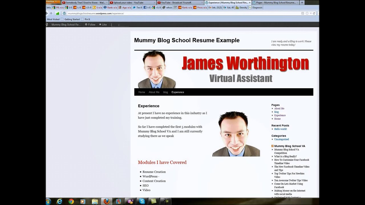 how to make an online resume with wordpress youtube