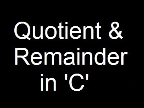 C Programming Tutorials| Quotient and Remainder Program in C thumbnail