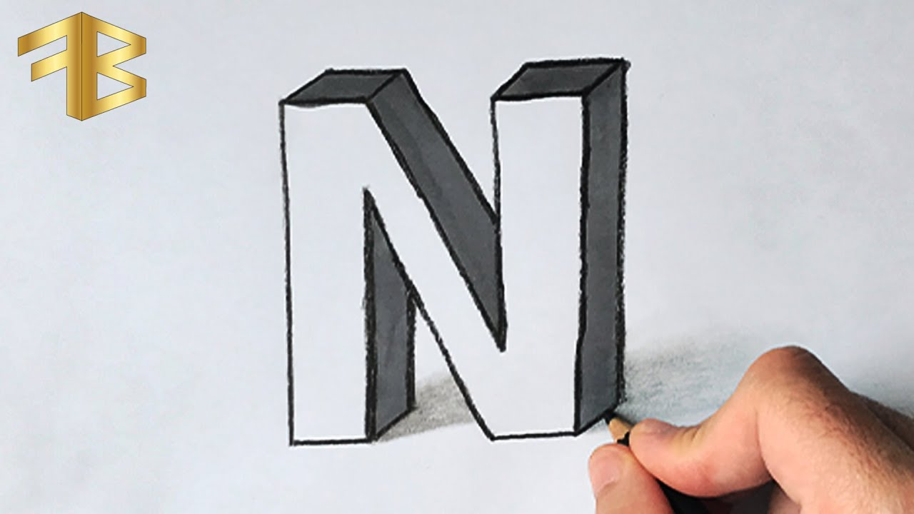 CETVELSİZ 3 Boyutlu N Harfi Çizimi - 3d çizim, 3 boyutlu harf çizimi, basit çizimler, güzel çizim,