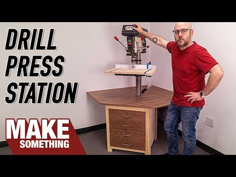 How to make a Drill Press Station with Fence and Storage