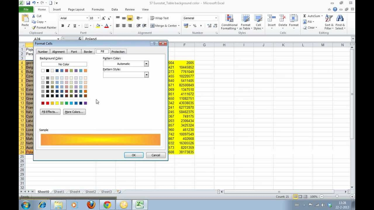 Background image in excel - How To Change The Background Color Of Cells In Excel 2010