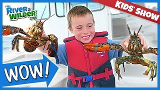KIDS, LOBSTERS AND FUN | Tuna Fishing Adventure - YouTube for kids | RIVER AND WILDER SHOW