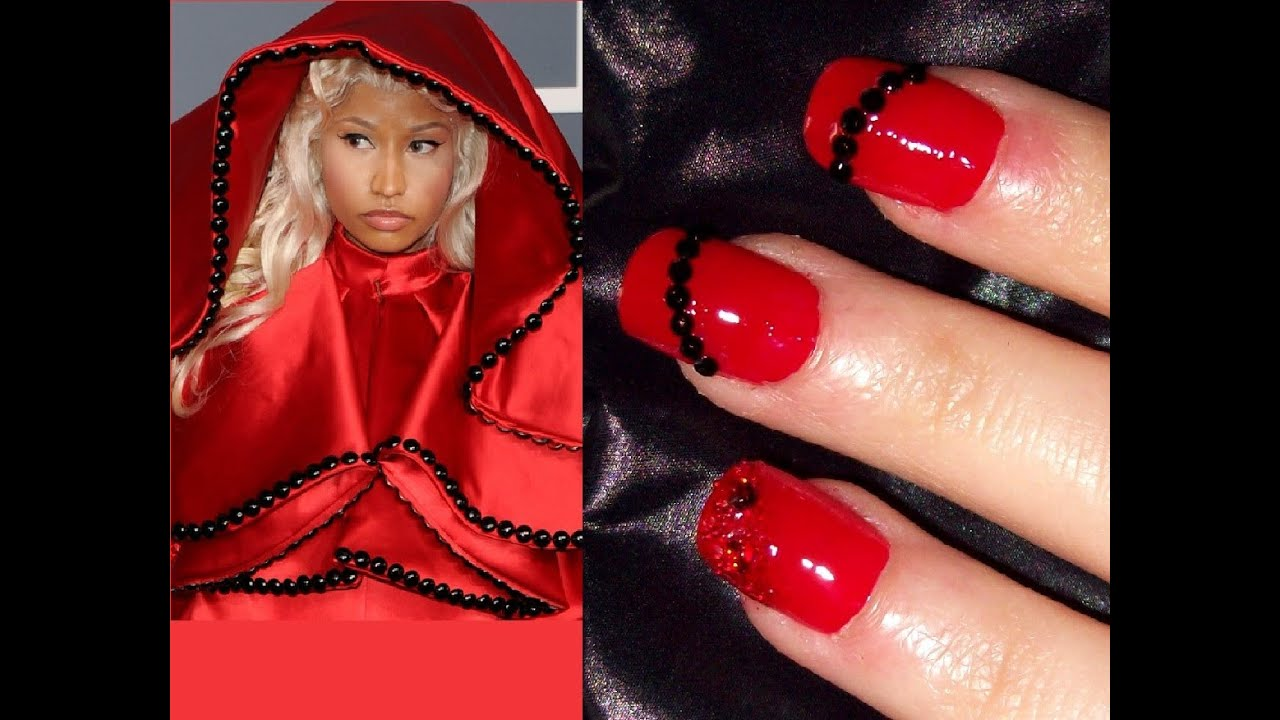Red carpet nails inspired by Nicki Minaj - YouTube