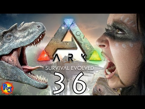 Lets Play ARK: Survival Evolved PS4 Split-screen | Co-op Gameplay Part 36: Taming a T-Rex (P+J)