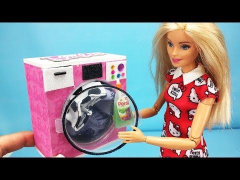 7 DIY Barbie Hacks : Miniature Washing Machine, Toothpaste, Vacuum cleaner and Accessories