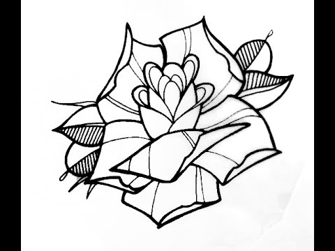 How to Draw a Tattoo Style Rose by thebrokenpuppet