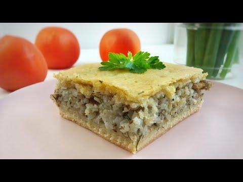 Пирог с рыбой и рисом. Рецепт вкуснейшего теста. Пирог из консервов. Пирог с сайрой #пирогсрыбой