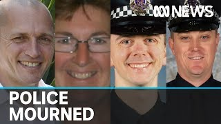 Victoria Police names officers killed in Eastern Freeway truck crash in Melbourne
