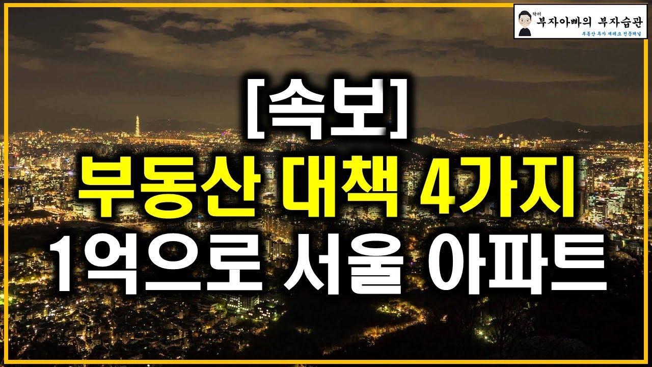 [속보]부동산 대책 4가지 1억으로 서울 아파트