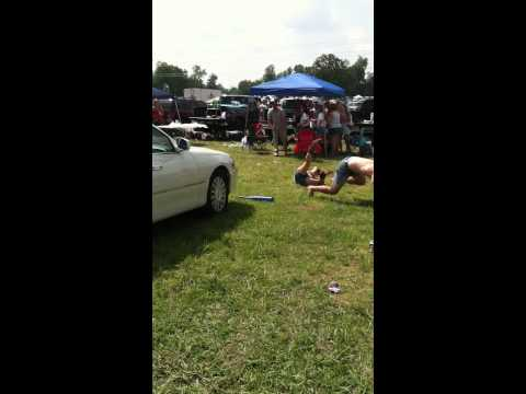 Nascar Race - Dizzy Bat Fail - Dude Kicks Girl In The Face But Still Wins