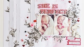 She's Perfect Baby Scrapbook Layout Process Video using rubber embellishments and fussy cut paper
