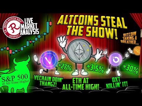 BITCOIN LIVE : ALTCOINS STEAL THE SHOW! S\u0026P 500 ALL TIME HIGH!