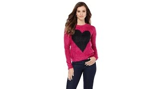 Faith   Zoe Novelty Yarn Heart Sweater