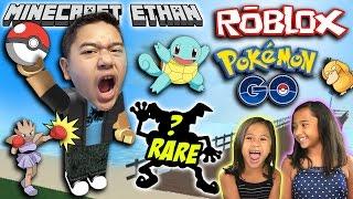 Rare Pokemon Caught! ft. Emma & Aubrey | Roblox Pokemon Go #1 | Minecraft Ethan