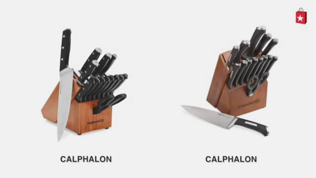 calphalon classic 15 piece cutlery with sharpin technology comparison video