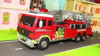 Pelleteuse, tractopelle, Camion de pompier, voiture de police,  jouets pour enfants Excavator Toys