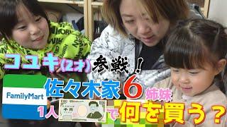 【検証】6姉妹に1人1000円渡したらコンビニで何を買う??第2弾はコッコも参戦!
