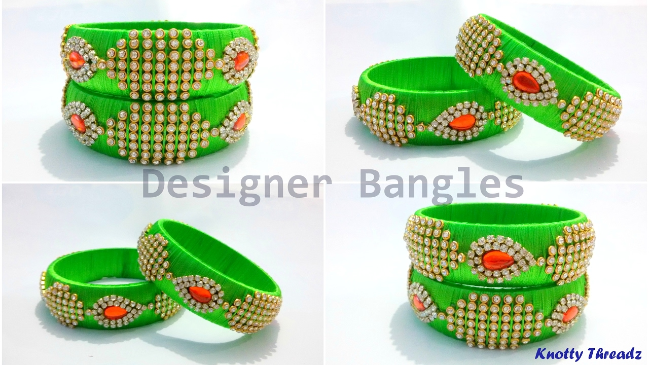 How To Make Designer Silk Thread Bangles At Home Tutorial Knotty Threadz Youtube