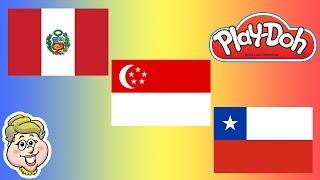 Play-Doh Flags! Peru, Singapore, and Chile!  EWMJ #116