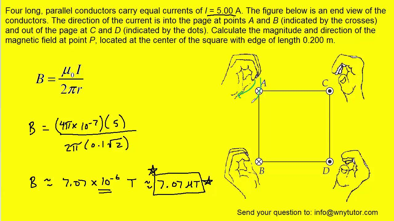 Four Long Parallel Conductors Carry Equal Currents Of I 500 A Extremely Basic Wiring Diagram The Figure Below Is An End View O Youtube