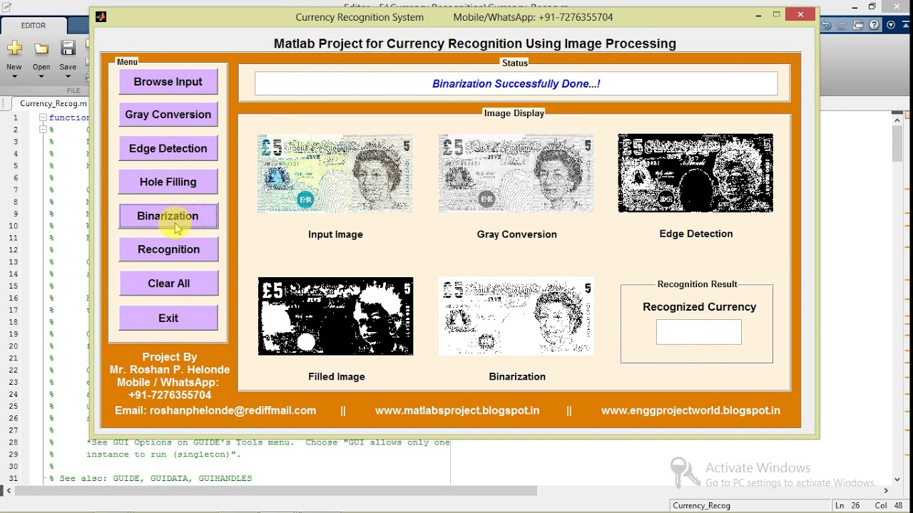 Currency Recognition Using Image Processing Matlab Project with