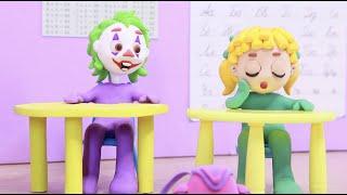 School Superhero Play Doh Stop motion cartoons kids
