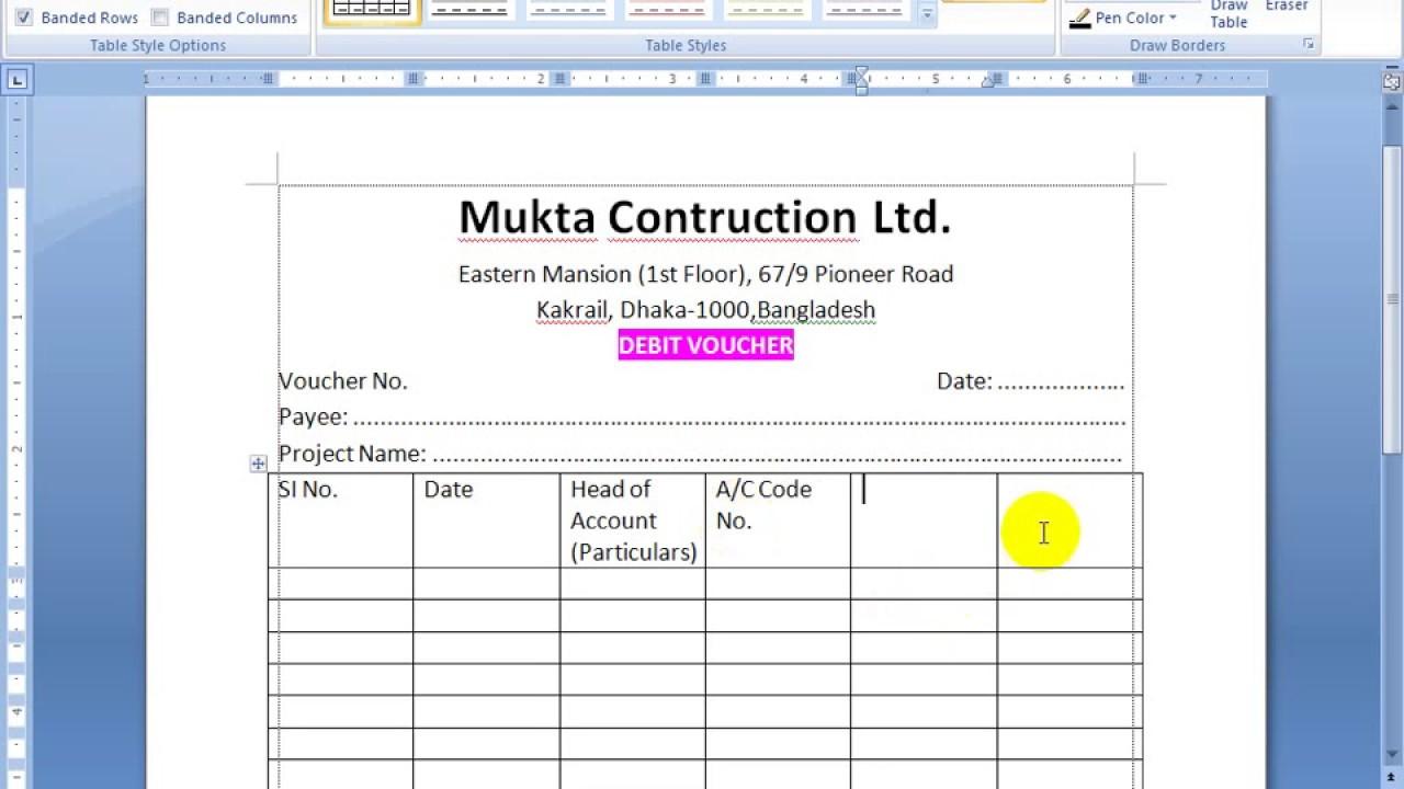 Sample Excel Templates: Debit Voucher Format Excel