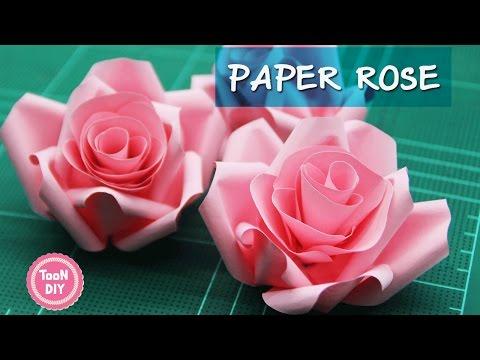 Paper Rose ดอกกุหลาบกระดาษ พับดอกกุหลาบ ตกแต่งบอร์ด  玫瑰花折纸 摺紙 玫瑰 ♥VER2♥ --TooNDIY