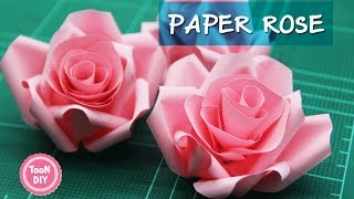 Repeat youtube video Paper Rose ดอกกุหลาบกระดาษ พับดอกกุหลาบ ตกแต่งบอร์ด  玫瑰花折纸 摺紙 玫瑰 ♥VER2♥ --TooNDIY