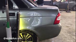 Lada Priora - ремонт вмятины без покраски по технологии PDR.