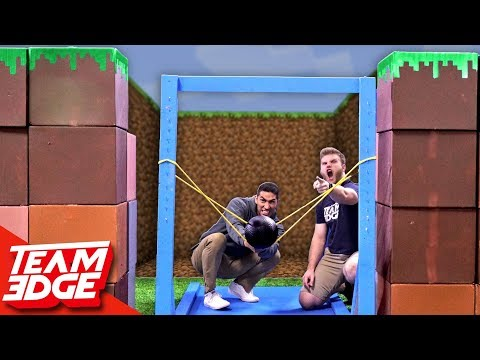 Minecraft Fort Battle IRL | GIANT Slingshot!!
