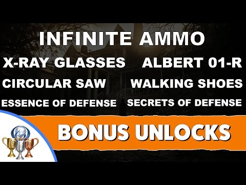 Resident Evil 7 - End Game Item Unlock Rewards - Infinite Ammo, Saw, X-Ray Glasses, Walking Shoes ..
