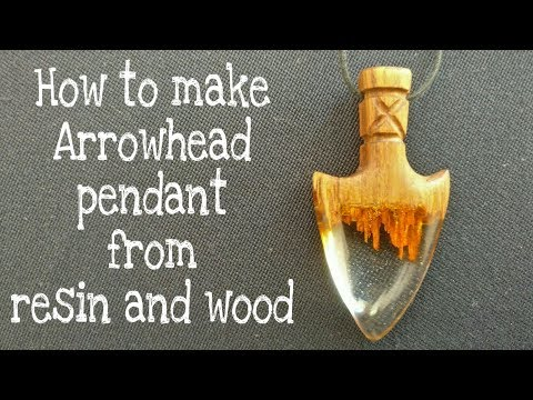 How to make arrowhead pendant necklace from epoxy resin and wood | resin art | resin craft