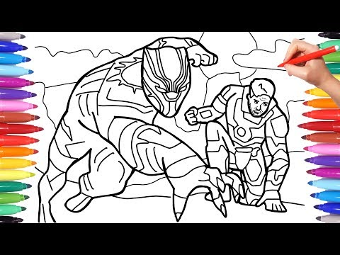 Black Panther and Iron Man Coloring Pages, Marvel Avengers Coloring Book, How to Draw the Avengers