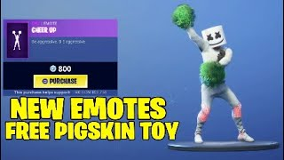Fortnite new emotes.cheer up,time out,Free pigskin toy - FREE American football