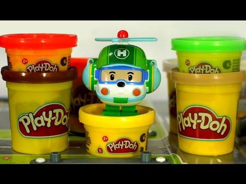 Развивающий мультик из игрушек Робокар поли и Плей До. День Рождения Хелли