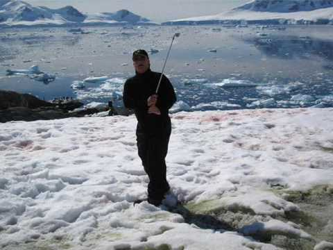 Antarctica Golf Practice.  Icebergs, Penguins, Ice Breakers and BirdieBalls.