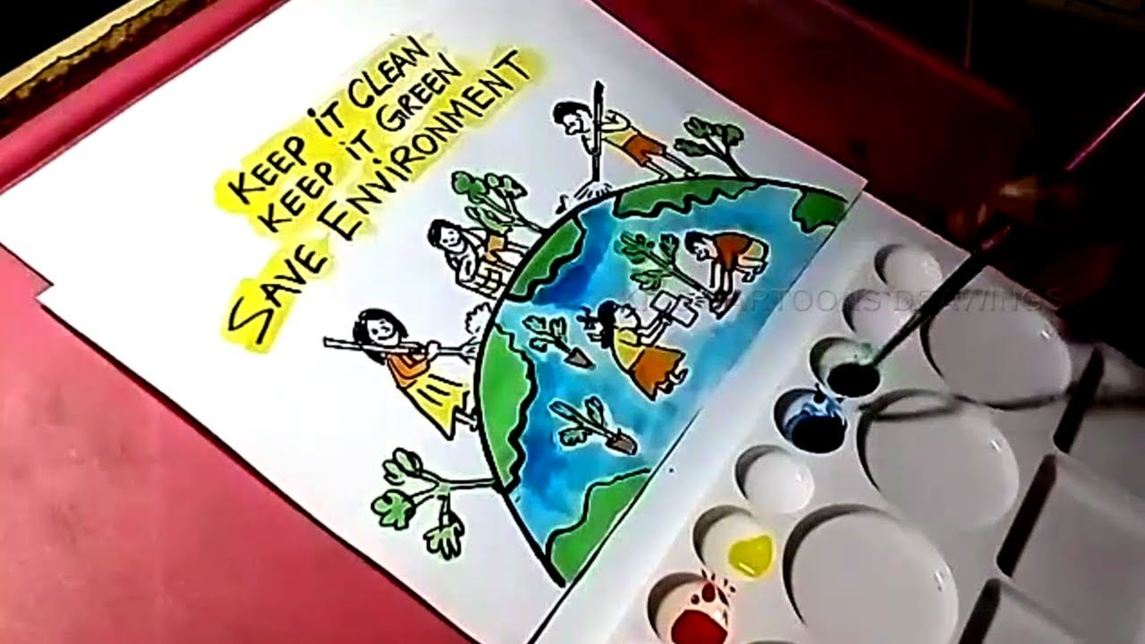 How To Draw Save Environment Drawing For Kids Youtube