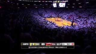 "Heat fans singing ""na na na hey hey goodbye"" to the Pacers"