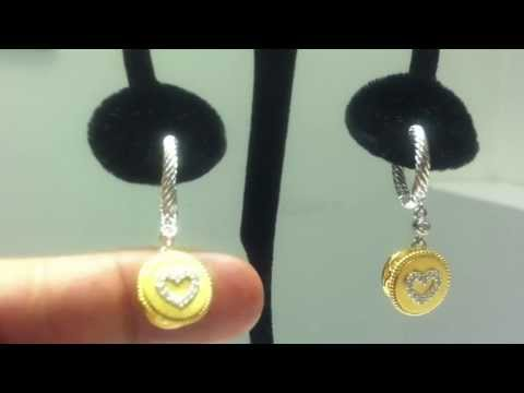 Designer Earring with 1/10 CTW Diamond in Dangle Heart 18KT Gold plated SE39H