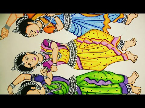 Beautiful Painting Of Three Odissi Dancing Women How To Draw Indian Classical Dancers Youtube