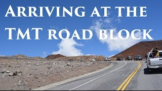 Road block at Mauna Kea - arriving at TMT summit blockade Oct 7 2014