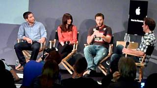 Jake Gyllenhaal Michelle Monaghan Duncan Jones promoting SOURCE CODE signing autographs
