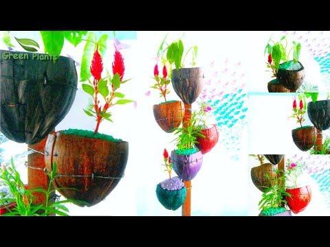 Natural Looking Flower Pot From Coconut Husk    Eco-friendly & Organic pot DIY Garden //GREEN PLANTS