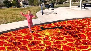 RUNNING ON LAVA at the park (pink monster)