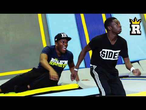 Thumbnail: KSI vs. TBJZL: TOBI'S EPIC OVERHEAD KICK - Trampoline Football | Rule'm Sports
