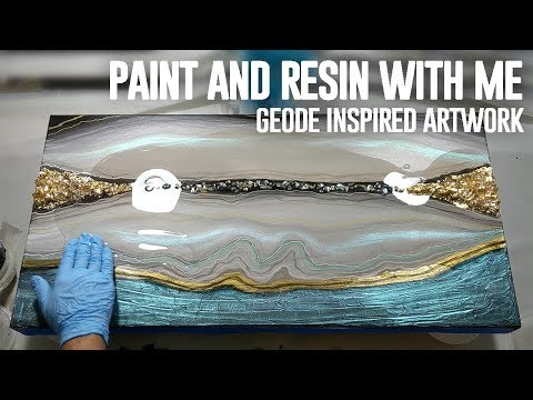 AGATE GEODE INSPIRED ART | acrylic paint and resin top coat | Demonstration |
